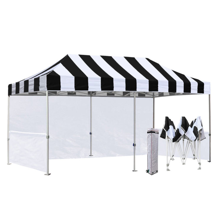 Custom colors stripes commercial pop up canopy 10x20 ft shop tent outdoor gazebo 3x6 trade show tent
