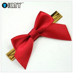 Pre tied Mini Satin Ribbon Bows With Gold WireTwist