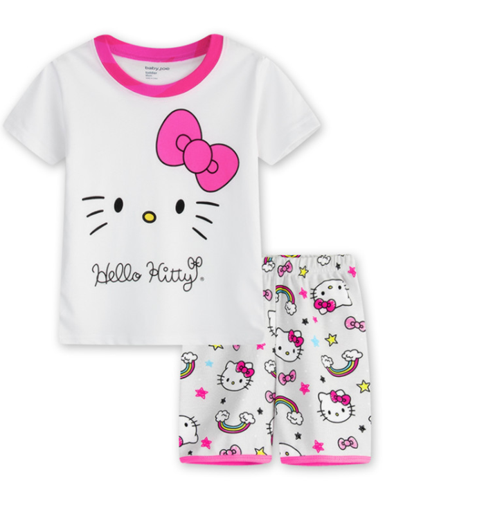 Wholesale 100% cotton children sleepwear set printing cartoon pattern kids pajamas