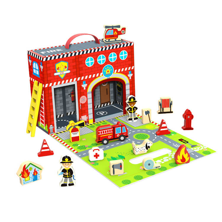2020 New Design Kids Wooden Educational Fire Station Story Box Toys