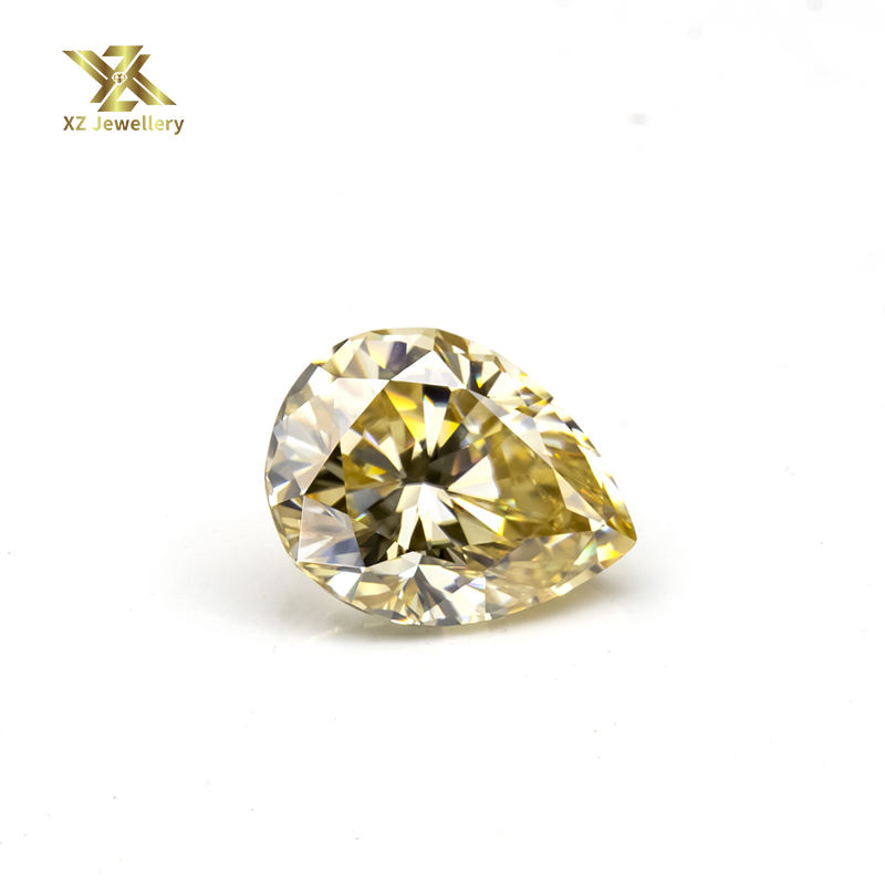 Yellow Champagne color Pear Diamond cut 3 carat moissanite diamond loose stones for 14k/18k gold ring