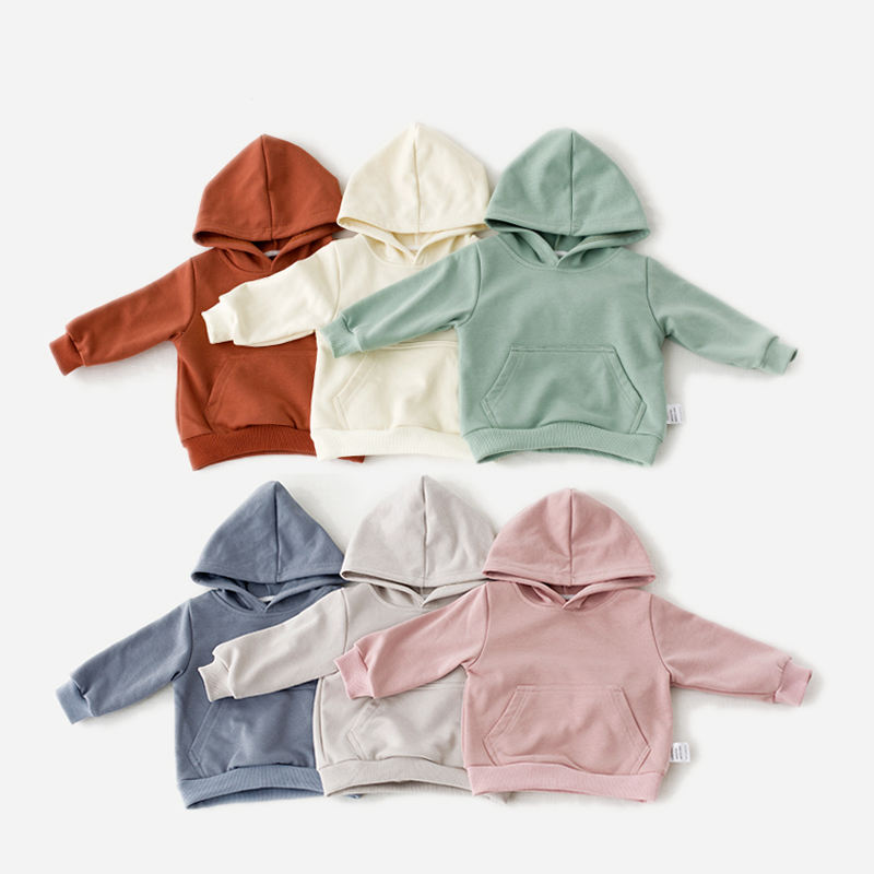 2021 New wholesale clothing custom solid color 100% cotton baby kids hoodies