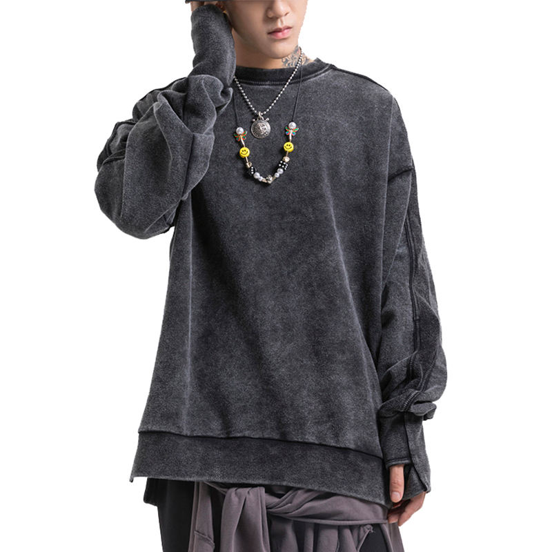 Mens cheap oversized blank sweatshirt pullover crewneck hoodie charcoal acid washed stylish hoodie