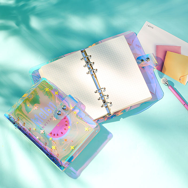 Labon Customized Replaceable Inner Pages Journal A6 Coloured PVC Cover Loose leaf Diary Planner with Snap Fastener
