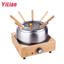 Electric Bamboo Base 8 persons Household Icecream Cheese Chocolate Tapas Melting Pot Tray Stainless Steel 304 Fondue Hot Pot