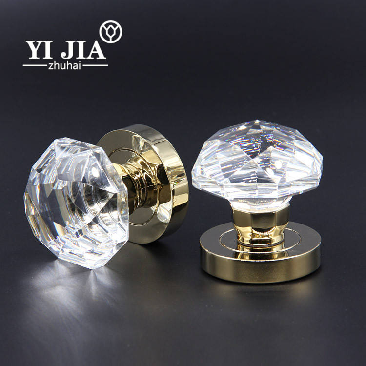 Antique Zinc Alloy Clear Interior Door Glass Crystal Knobs Door Handles Set