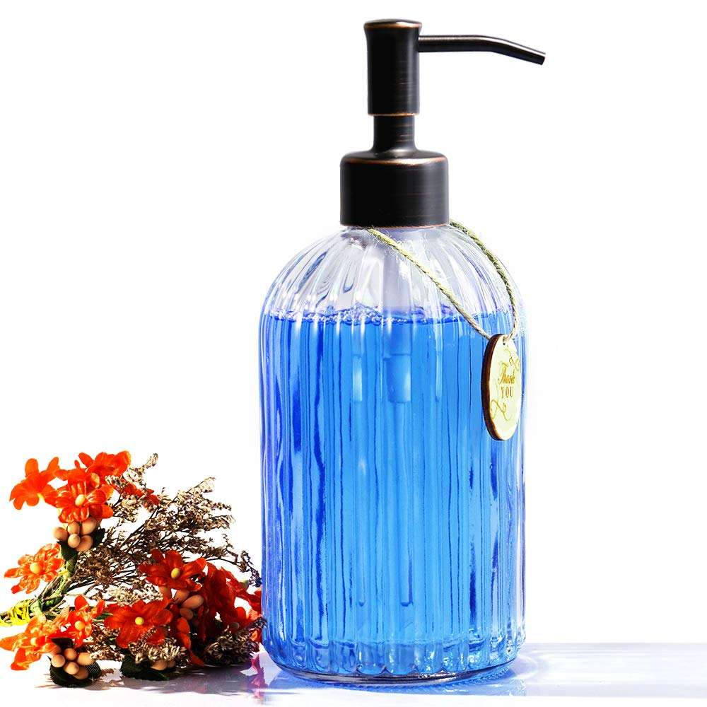 2019 New Product 18OZ Refillable Wash Hand Liquid Bottle Glass Soap Dispenser for Bathroom and Laundry Room