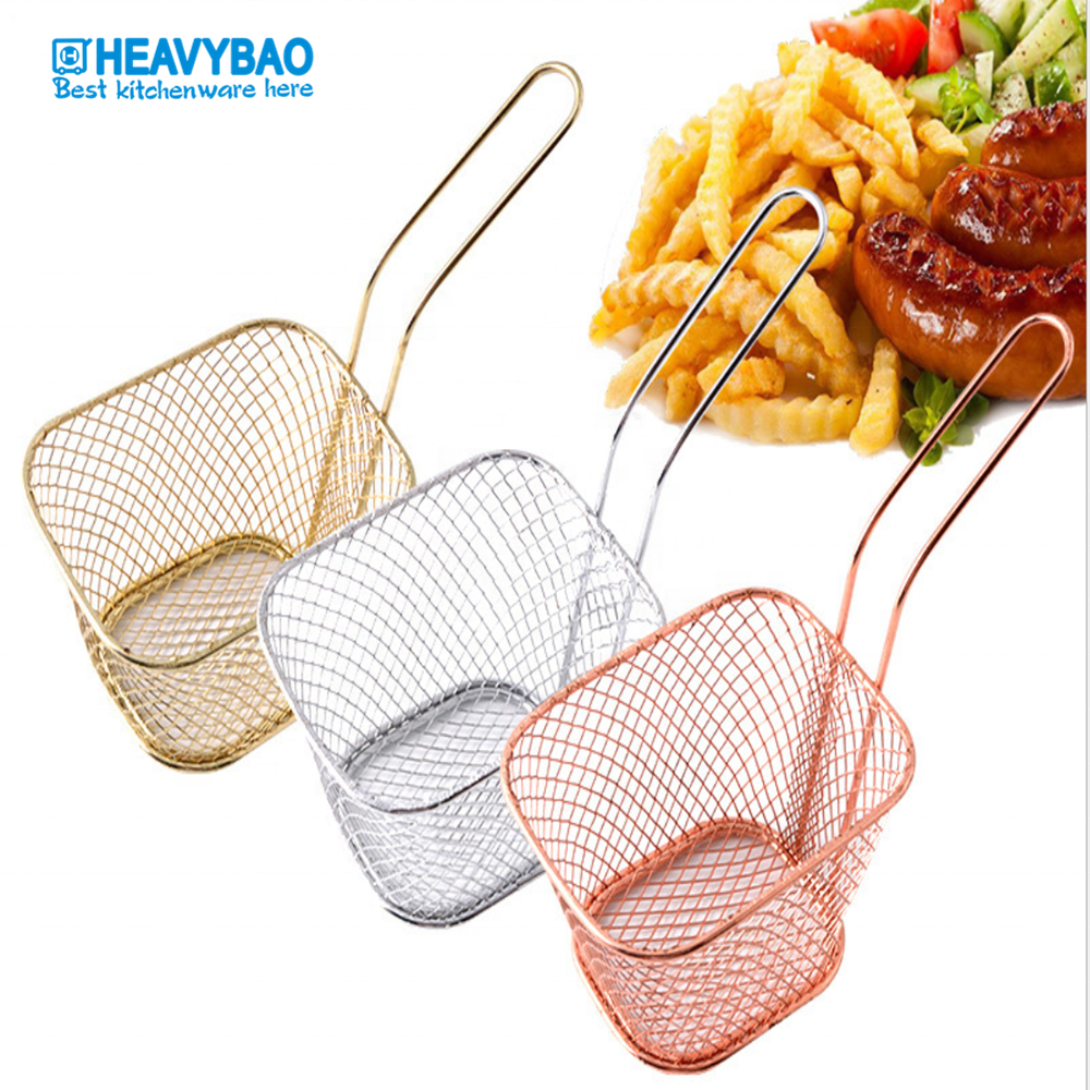 Heavybao Metal Wire Mini Fry Serving French Fries Mesh Stainless Steel Potato Basket