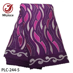 Stone design purple color swiss cotton lace fabric african swiss voile lace