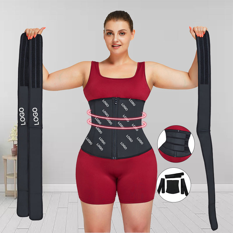 Detachable Belt private label slimming belt latex removable big size 3 strap waist trainer women shaper corset