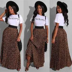 2020 women clothing 2 piece set letter print tshirt with pleated leopard skirt summer two piece skirt set