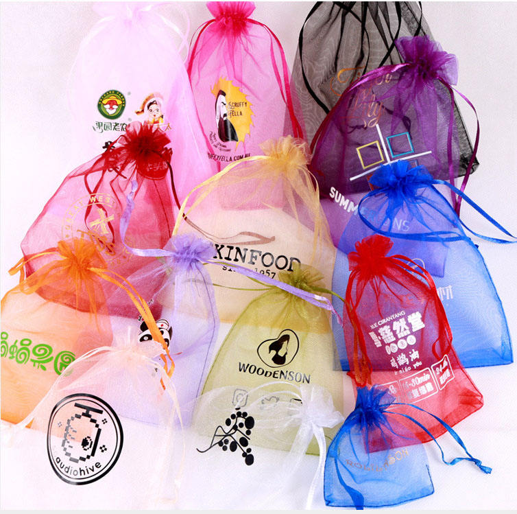 Factory direct sale wholesale organza package candy bag Custom logo Organza gift bags for wedding gift packing Drawstring pouch