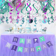 Mermaid Birthday Party Ideas Birthday Girl Decoration Glitter Swirl Hanging Banner Decorations Kids Birthday Party Supplies Sets