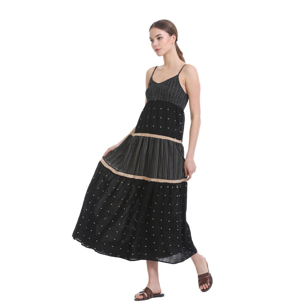 Anany vintage modest women clothing Design Elegant Sleeveless Black Square Dot Long slip plus size dress skirts
