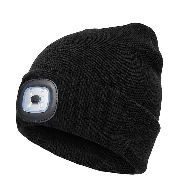 New Running Usb Rechargeable Camping Hiking Hat Survival Led Knitted Winter Beanie Hat With Led Light