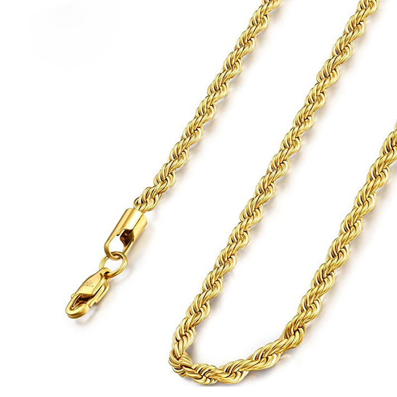 14k gold chains for men pure gold jewelry 4mm twist rope chain for women and men 21 inch long chain 12440