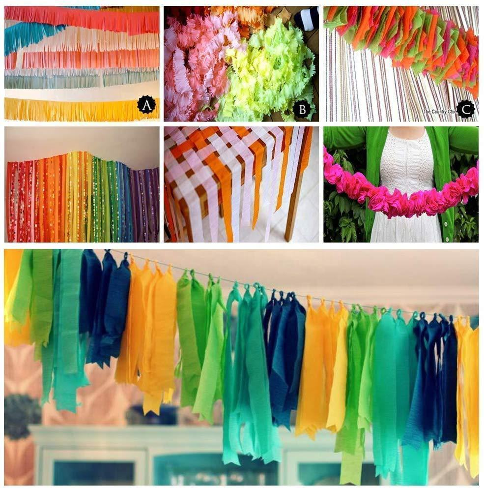 Nicro Rainbow Colorful Party Backdrop Decoration Wrapping Tissue Roll Crepe Paper Streamer