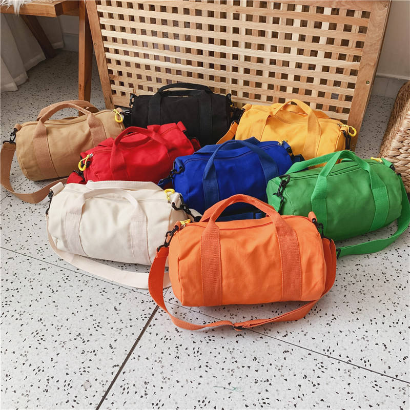 Foldable Travel Duffel gym Bag Arrival Fashion Kids Girls Solid Color Small Canvas Travel Bags