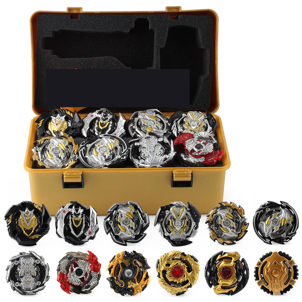 Gold Edition Gyro Set Beyblades Toolbox Assembly Battle Bayblades Combat Gyro Launcher Storage Box Toy Stadium Arena