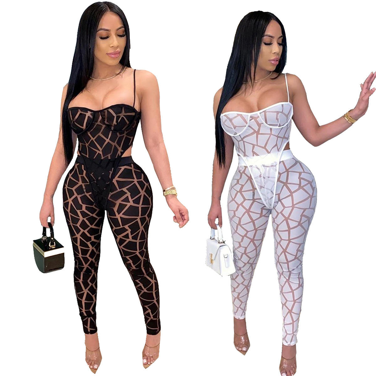 2020 Fashion 2 piece Stacked Leggings Sexy Lace Womens 2 Piece Outfit Two Piece Set Women Stacked Pants Outfits