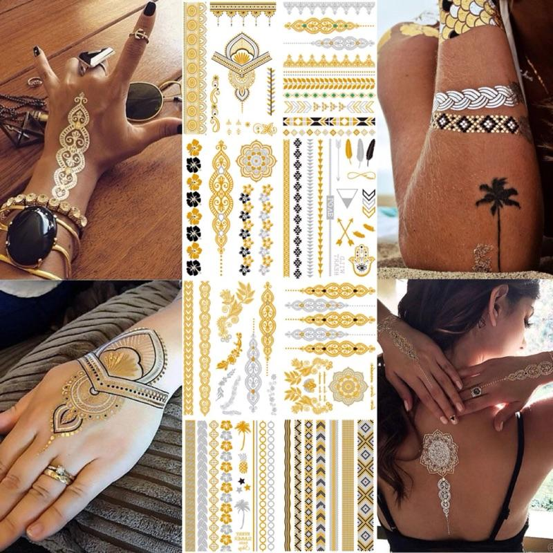 Flash Metallic Waterproof Tattoo Gold Silver Women Fashion Henna /Peacock Feather Design Temporary Tattoo Sticker Paster