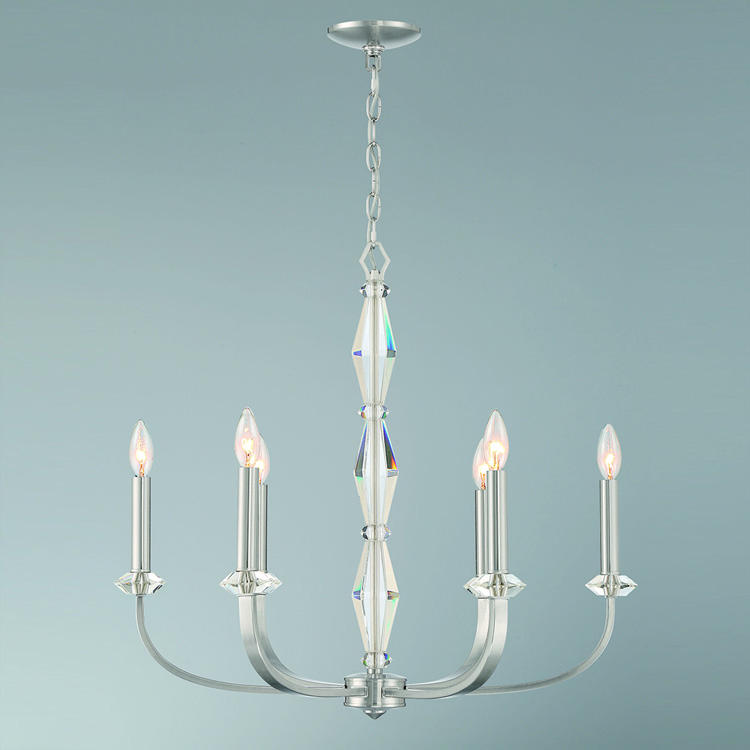 High End Traditional 6 Lights Chandelier With Real K9 Crystal In Polished Nickel Finish High Quality