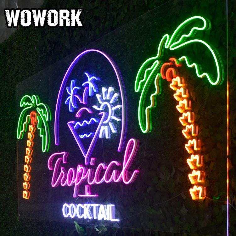 WOWORK wedding signs decoration at stage giant outdoor heart lights led illumination lamp