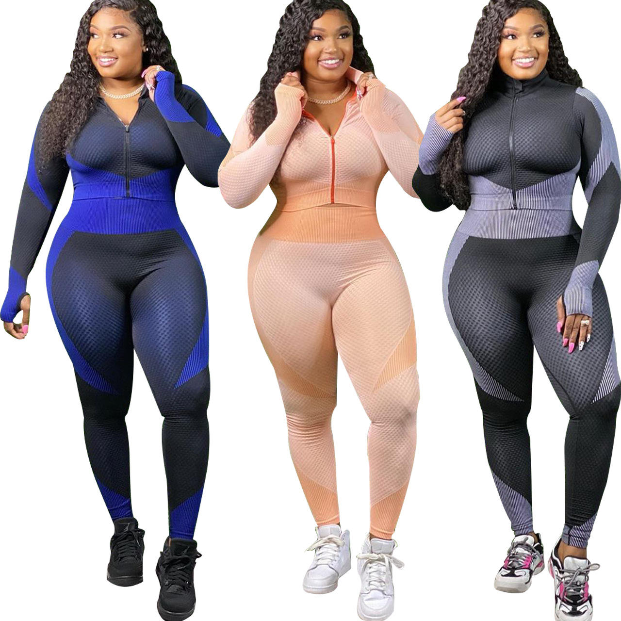 Plus Size Two Piece Women Yoga Set Striped Yoga Leggings 4XL Zipper Long Sleeve Gym Sport Active Wear