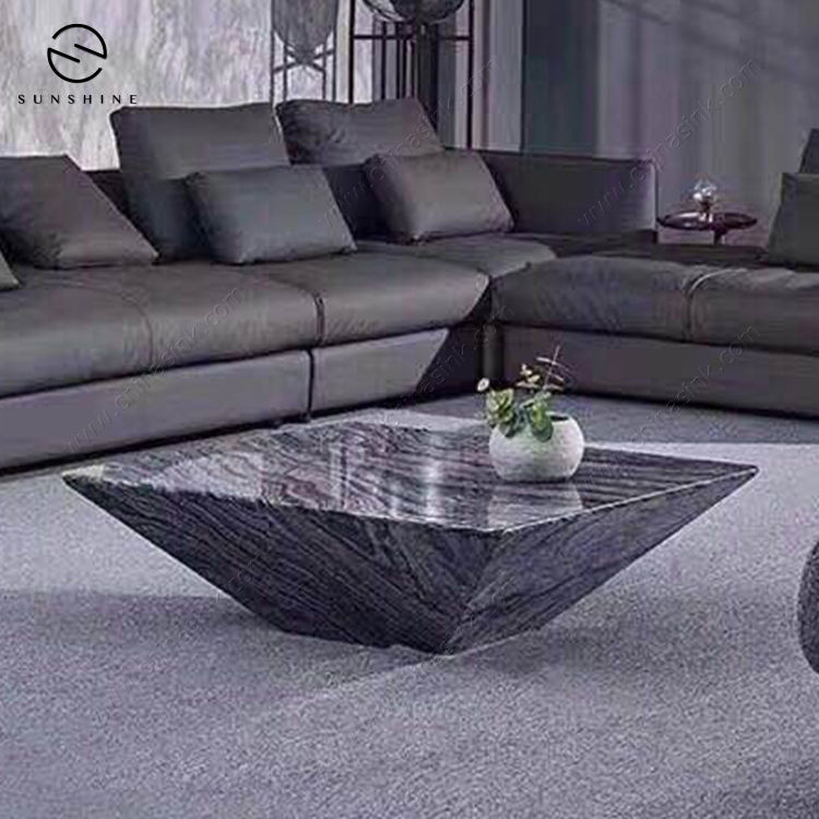 Modern Style Inverted Pyramid Shape Marble coffee table side table