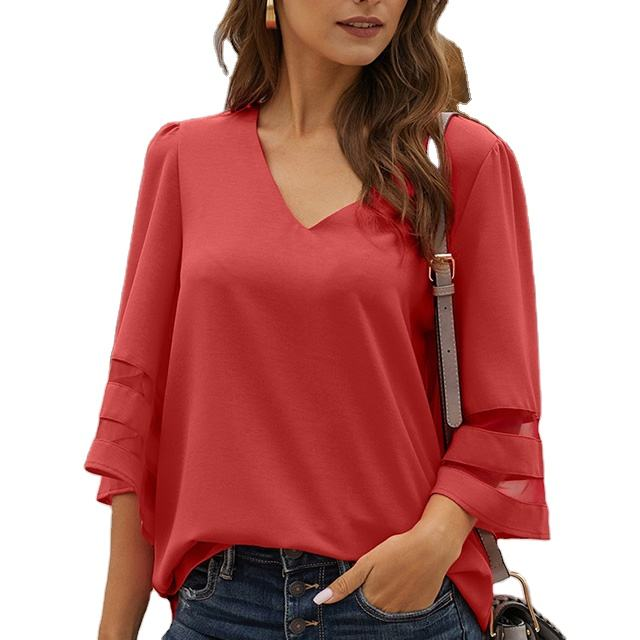 MENGMUGE Wholesale Ladies Clothing Half Sleeve White Blouse Flare Sleeve Mesh Panel Shirts Loose Top Tunics Blouse Women