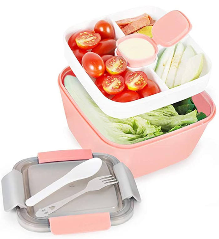 Square Plastic PP 2 Layers Microwave Safe Bpa Free Bento Food Box Plastic Salad Bento Lunch Box For School Kids Children