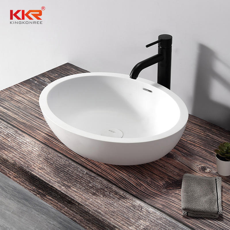 Solid Surface Bathroom Wares Round Circular Wash Basin Small Hand Stone Wash Basin