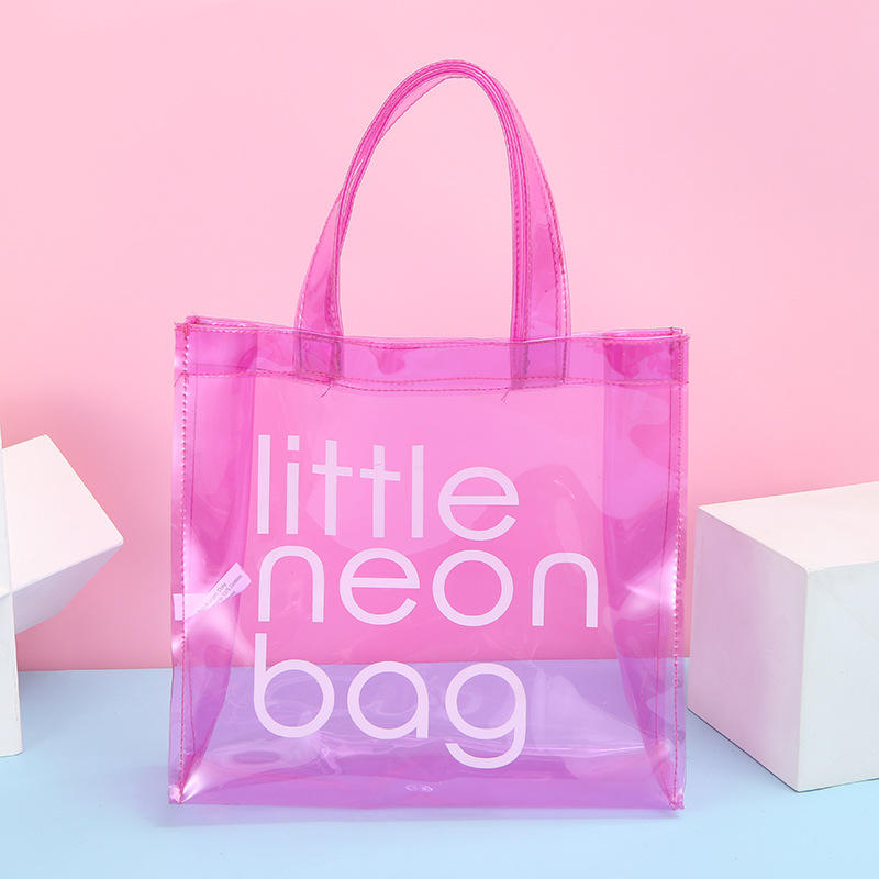 Small Little Neon Print Transparent Bright Candy Color Cosmetic Holder Swim PVC Wash Tote Bag
