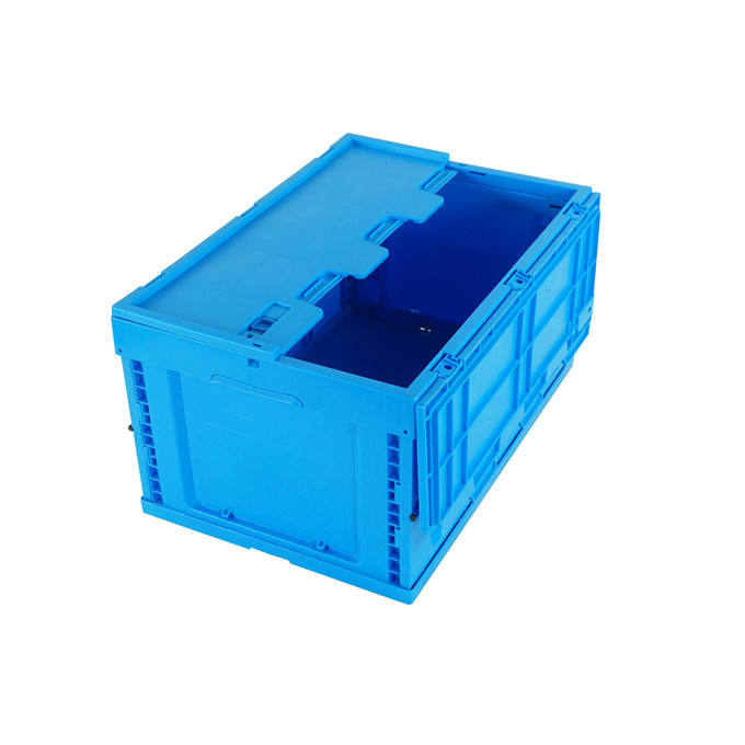 foldable collapsible moving folding crate plastic storage box with lid