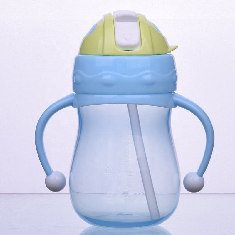 2019 New Design 260 ml PP Baby Training Sippy Straw Cup