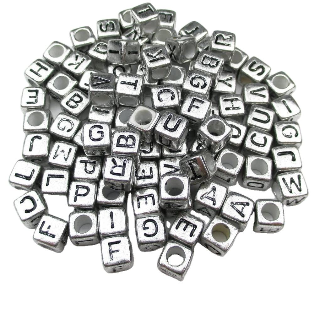 6mm Ancient Sliver Mixed Letter Alphabet Cube Acrylic Beads for Jewelry Making
