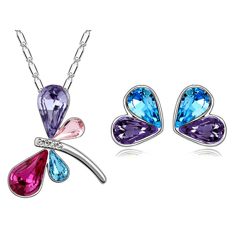 Dragonfly Acrylic Designer Stainless Steel Necklace and Earring Jewelry Packaging Set