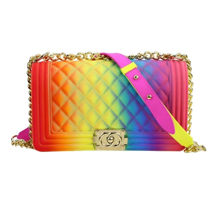 Fashionable Handbags 2020 Wholesale jelly make up bag rainbow purses and handbag pvc jelly bag