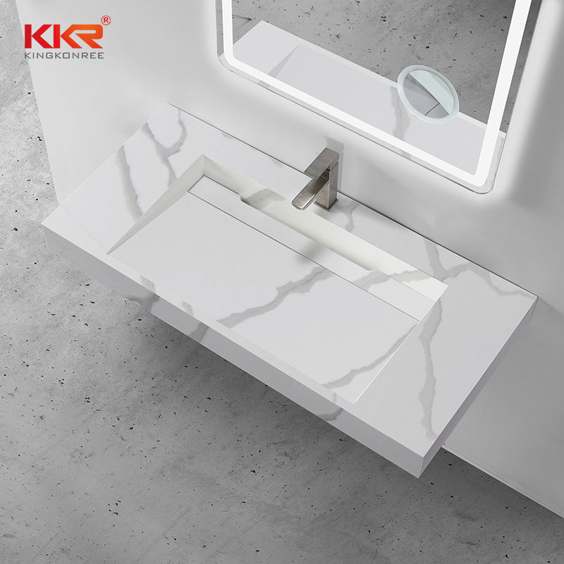 Kkr Marble Pattern Wash Basin Modified Acrylic Solid Surface Wall Hung Bathroom Basins Bathroom Sink