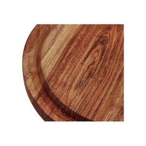 Round Wood Cutting Board Acacia Cheese Serving Tray and Charcuterie Platter with Juice Drip Groove