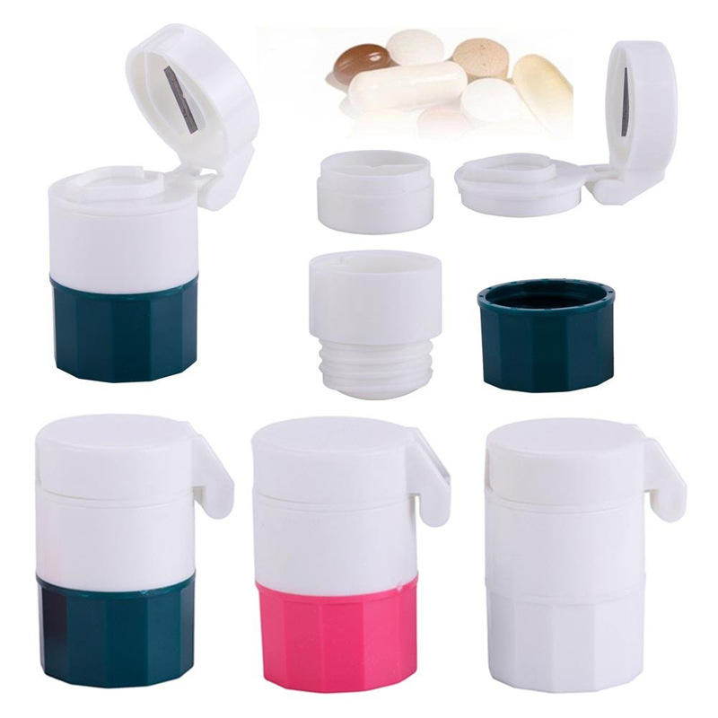 Plastic Travel Portable Round Pill Box With Cutter