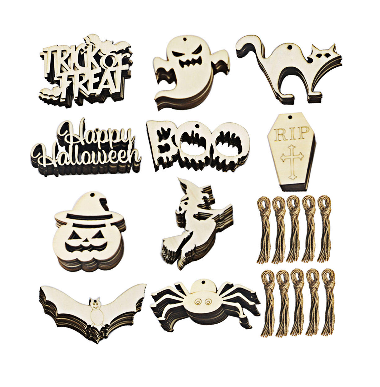 Factory direct wood 10pcs/pack Halloween door hanging and wall decorations party supplies decoration ornaments crafts