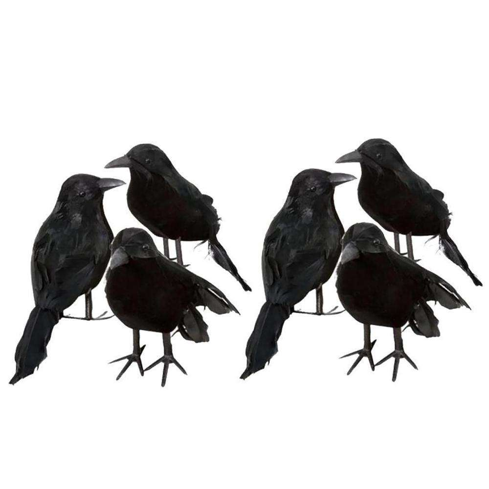 Realistische Halloween Crow Requisiten Decor Vogel Schwarz Gefiederten Crows Weihnachten Ornamente