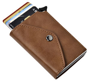 Mens Small RFID Blocking Genuine Leather Credit Card Business Name Card Holder Wallet