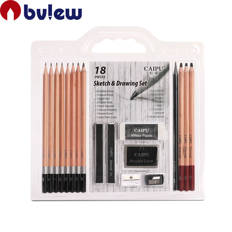 Professional 18 Pcs Artist Sketch Charcoal Pencil Set For Sketching And Drawing
