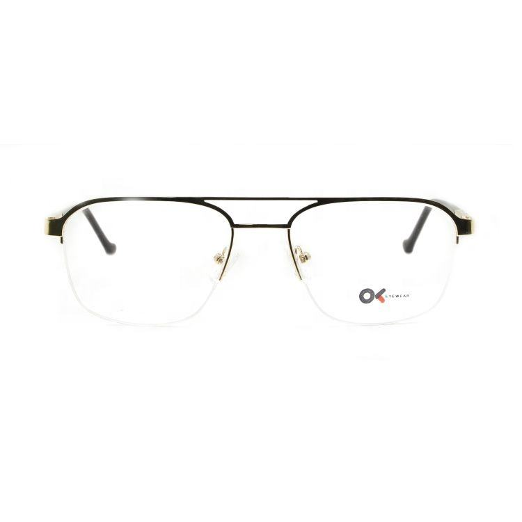 92131 2020 Hot Sell Eyewear Half Rimless Stainless Steel Optical Frames Occhiali
