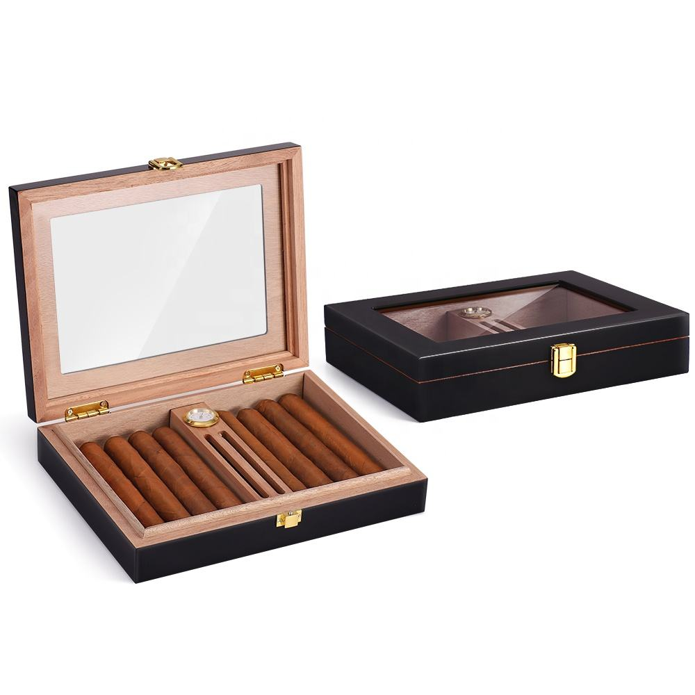 High Gloss Cigar Humidor for 15-20 Cigars, Handmade Cedar Wood Cigar Box, Desktop Humidors with Hygrometer and Humidifier