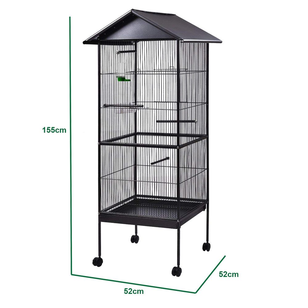 Large Metal Bird Cage Play Top Parrot Macaw Cage