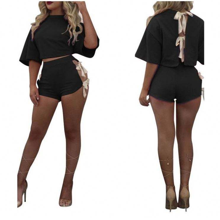 2019 Online Shopping Free Shipping Pure Black Back Bow Tied Top And Two Pieces Shorts Set Women's Clothing Casual