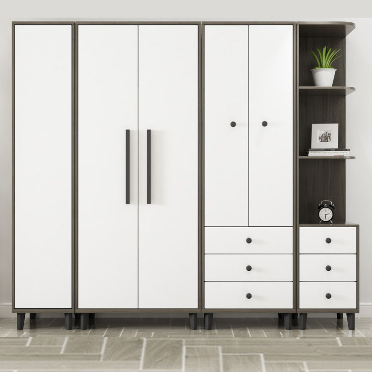 China manufacturer bedroom wooden designs wardrobe White Modern Bedroom closet 5 Door Mdf Clothes Wardrobes with mirror